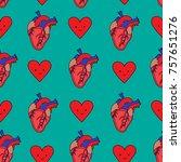 human heart pattern | Shutterstock .eps vector #757651276