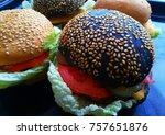 white cheeseburger and black... | Shutterstock . vector #757651876