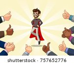 superhero businessman in vest... | Shutterstock .eps vector #757652776