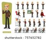 set of blonde businessman in... | Shutterstock .eps vector #757652782