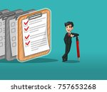 businessman in black suit... | Shutterstock .eps vector #757653268