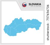slovakia map and flag in white...   Shutterstock .eps vector #757656736