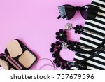 lipstick sunglass necklace... | Shutterstock . vector #757679596