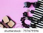 lipstick sunglass necklace... | Shutterstock . vector #757679596