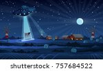 ufo abducting a cow  summer... | Shutterstock .eps vector #757684522