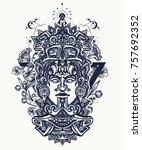 mayan tattoo and t shirt design.... | Shutterstock .eps vector #757692352