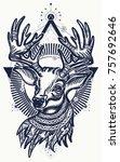 christmas deer. symbol of... | Shutterstock .eps vector #757692646