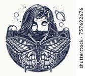woman in space tattoo art.... | Shutterstock .eps vector #757692676