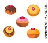 tasty donut with jam symbol... | Shutterstock .eps vector #757702786