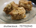fried tofu food on plate asia... | Shutterstock . vector #757702945