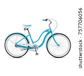 blue retro bicycle isolated on...   Shutterstock . vector #757706056