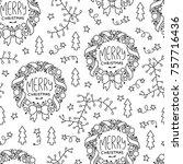 doodles christmas seamless... | Shutterstock .eps vector #757716436