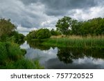 the river on a cloudy day  rain ... | Shutterstock . vector #757720525