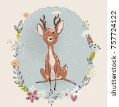 cute summer deer | Shutterstock .eps vector #757724122