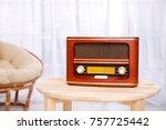 stylish radio on table in room | Shutterstock . vector #757725442
