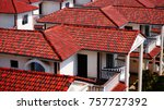 close up roof shingles ... | Shutterstock . vector #757727392