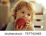 cute fair haired blond hazel... | Shutterstock . vector #757742485