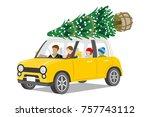 car loading christmas tree on... | Shutterstock .eps vector #757743112