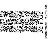 outline floral seamless pattern.... | Shutterstock .eps vector #757743535