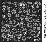 kindergarten nursery preschool... | Shutterstock .eps vector #757752862