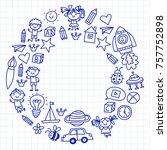 small children play nursery... | Shutterstock .eps vector #757752898