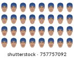 emotions set. black man wearing ... | Shutterstock . vector #757757092