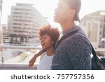 young multiethnic couple... | Shutterstock . vector #757757356