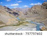 himalayan landscape in... | Shutterstock . vector #757757602