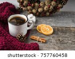 Mug With Coffee  Orange Slices  ...