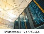 departures monitor display... | Shutterstock . vector #757762666