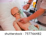 during the medical simulation ... | Shutterstock . vector #757766482