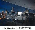 Empty Night Office Interior...