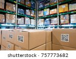 smart logistic industry 4.0  ... | Shutterstock . vector #757773682