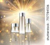 blank christmas cosmetic bottle ... | Shutterstock .eps vector #757784536
