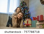 little girl at home in a... | Shutterstock . vector #757788718