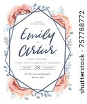wedding invite  invitation ... | Shutterstock .eps vector #757788772