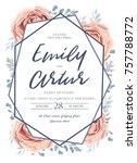 wedding invite  invitation ... | Shutterstock .eps vector #757788772