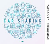car sharing concept in circle... | Shutterstock .eps vector #757799392