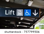 direction sign pointing to the... | Shutterstock . vector #757799506