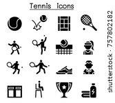 tennis icon set illustration... | Shutterstock .eps vector #757802182