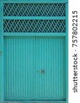 Turquoise Wooden Door In...