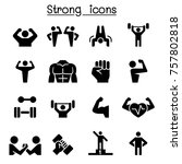 fitness   strong icon set | Shutterstock .eps vector #757802818