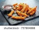 fried shrimps tempura with... | Shutterstock . vector #757804888
