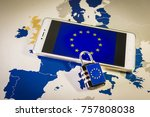 Small photo of Padlock over a smartphone and EU map, symbolizing the EU General Data Protection Regulation or GDPR. Designed to harmonize data privacy laws across Europe.