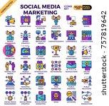 social media marketing concept... | Shutterstock .eps vector #757819642