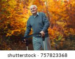 Small photo of Happy senior man with a walking disability enjoying a walk in an autumn park pushing her walker or wheel chair.