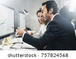 two business person at working... | Shutterstock . vector #757824568