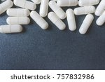 close up of white capsule or... | Shutterstock . vector #757832986