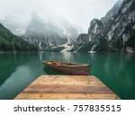 lake in the mountain valley in... | Shutterstock . vector #757835515