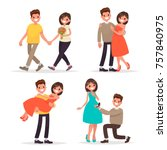 set of a loving couple man and... | Shutterstock .eps vector #757840975